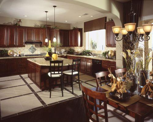 咖色复式田园风格厨房装修设计