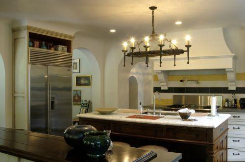 小吧台田园开放式厨房装修设计
