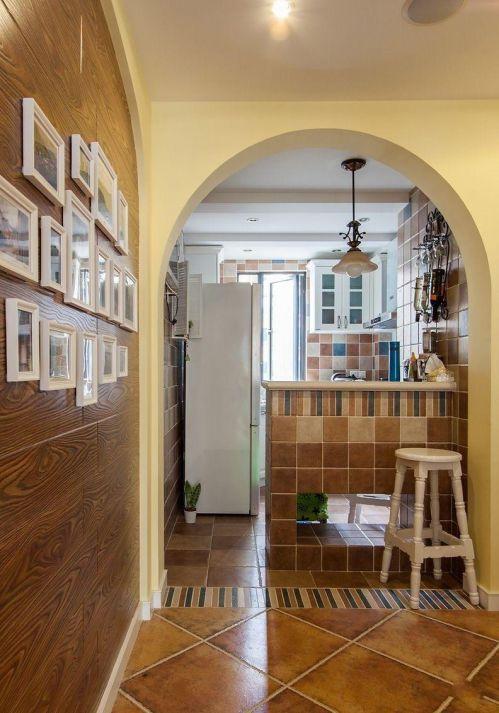 85平两居室田园风格厨房彩色吧台装修效果图