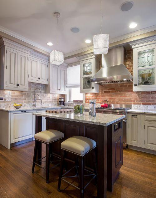 84平两居室田园风格白色厨房吧台装修效果图
