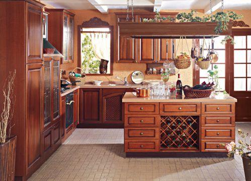 大气田园风格咖啡色厨房柜子效果图
