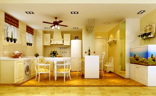 韩式田园风格二居室厨房装修效果图大全