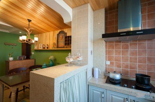田园风格二居室厨房瓷砖装修效果图欣赏