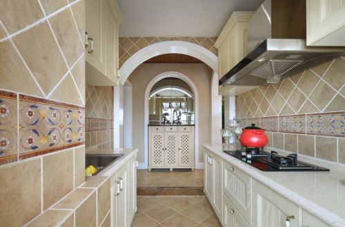 田园风格三居室厨房瓷砖装修效果图大全