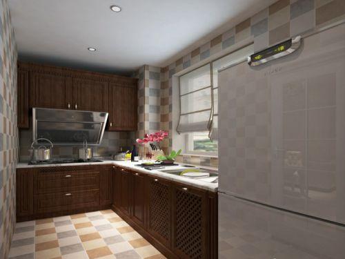 田园风格三居室厨房灶台装修图片