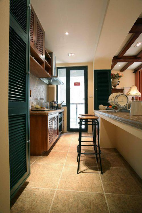 现代田园风格厨房吧台图片欣赏