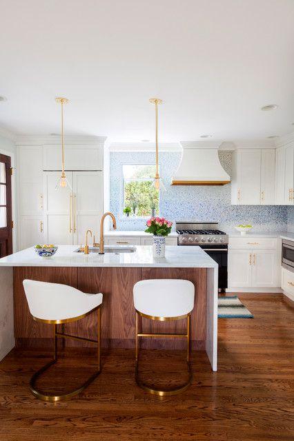 柔情白色田园风格厨房吧台装修设计
