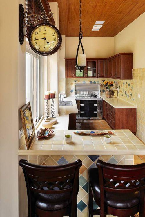 田园风格别墅厨房吧台木制吊顶装修设计