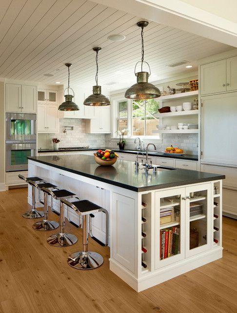 浪漫田园风格大户型厨房吧台设计案例图
