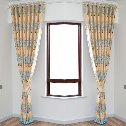黄色蓝花纹现代卧室窗帘效果图