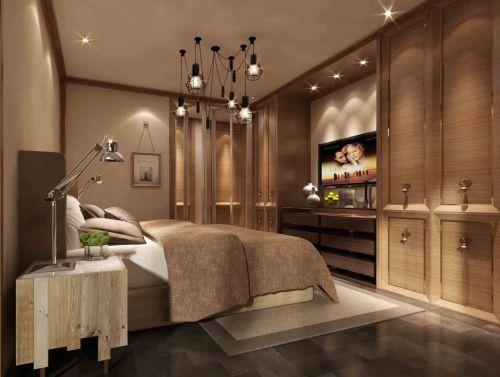 卧室现代简约风格时尚灰色大床效果图设计