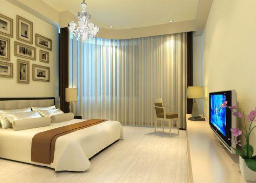 现代简约卧室米色照片墙装修效果图