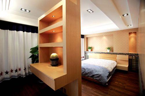 原木色现代简约风格卧室隔断装修效果图
