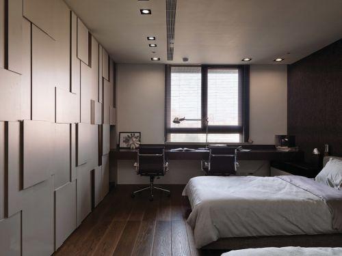 现代风格时尚三居室卧室背景墙装修效果图