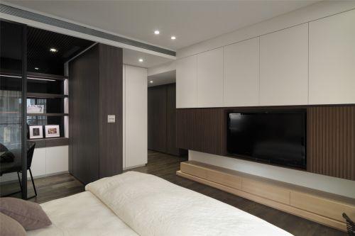 个性白色现代风格卧室背景墙装修图片