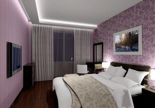 现代简约风格紫色卧室印花背景墙装修效果图