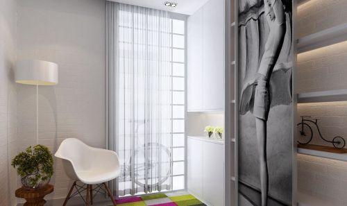 现代简约风格卧室白色鞋柜装修图片