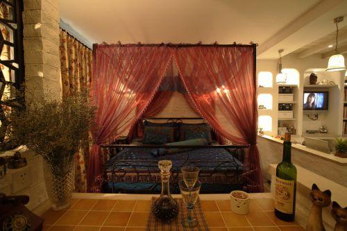 现代简约风格橙色温馨卧室装修效果图