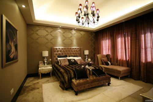 四居室现代简约卧室紫色唯美吊灯灯具效果图