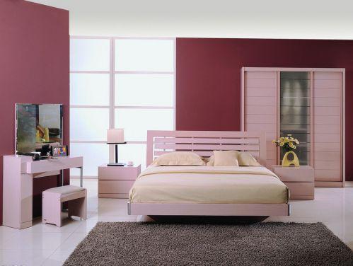 现代风格粉嫩卧室梳妆台效果图