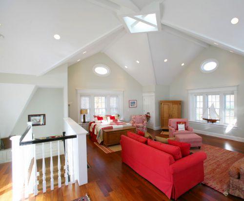 现代简约风格白色大卧室吊顶设计