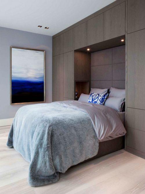 典雅现代风格卧室床铺装修效果图