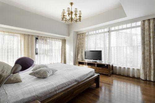 清新现代风格三居室卧室窗帘装修效果图