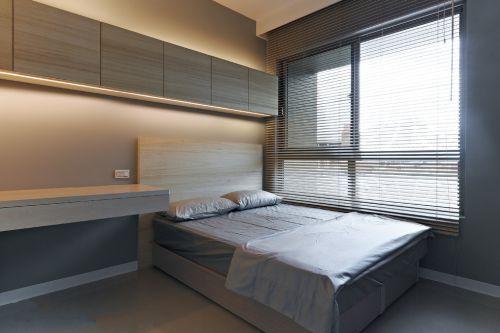家装现代风格卧室百叶窗帘效装修果图