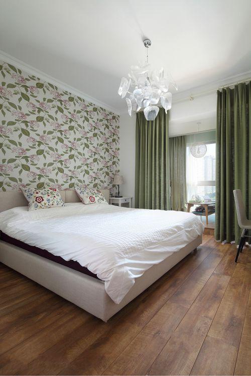 清新现代风格三居室卧室背景墙效果图欣赏