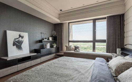 潮流时尚现代简约风格卧室飘窗实景图