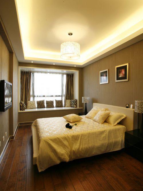 时尚现代简约风格实用卧室飘窗实景图