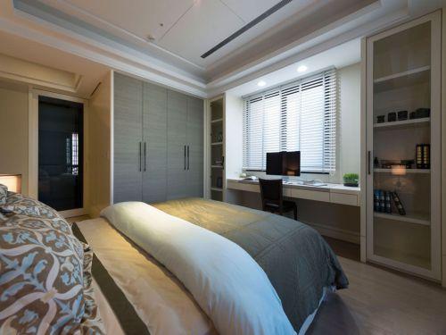 现代简约风卧室灰色衣柜装修效果图