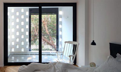 复古时尚现代风格白色卧室效果图