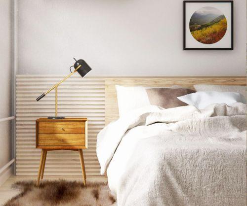 现代日式原木风格卧室设计效果图