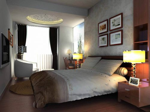 时尚气质现代简约风格卧室照片墙实景图