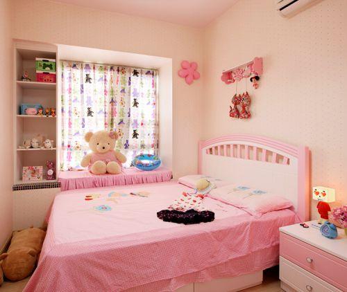 粉红甜蜜现代简约风格卧室飘窗实景效果图
