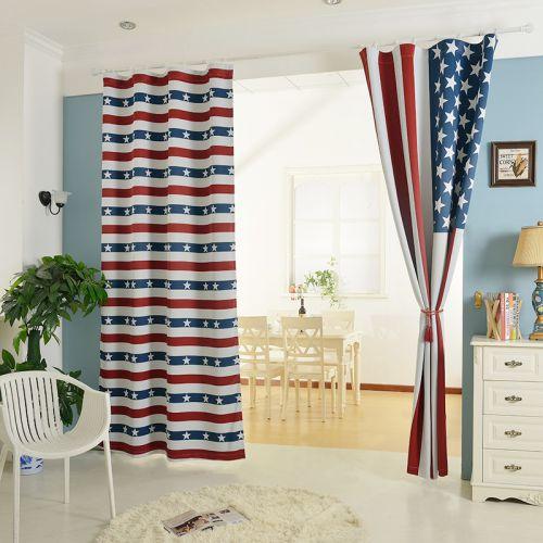 蓝白红条纹现代创意卧室窗帘效果图