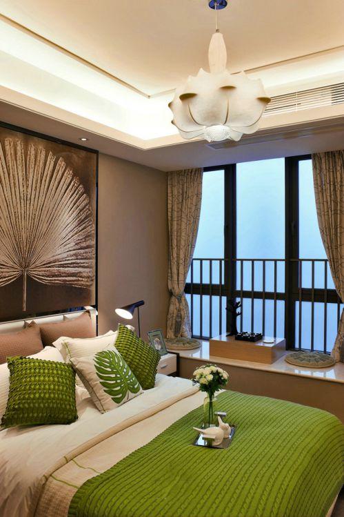 绿色点缀现代简约豪华卧室设计效果图