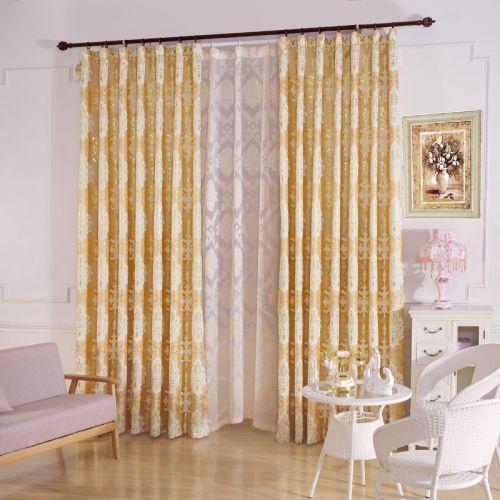 黄色印花现代简约卧室窗帘效果图