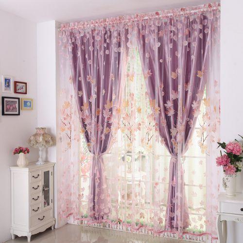 紫色碎花现代卧室窗帘效果图