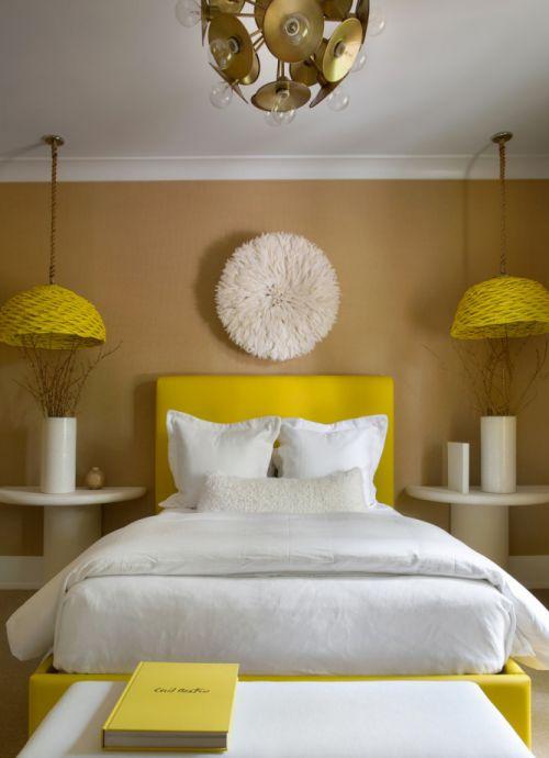 时尚明快现代风格暖色调卧室装修实景图