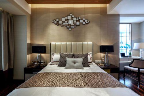 黑色调现代中式风格花园洋房卧室装修