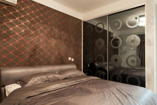 华丽现代风格卧室背景墙效果图