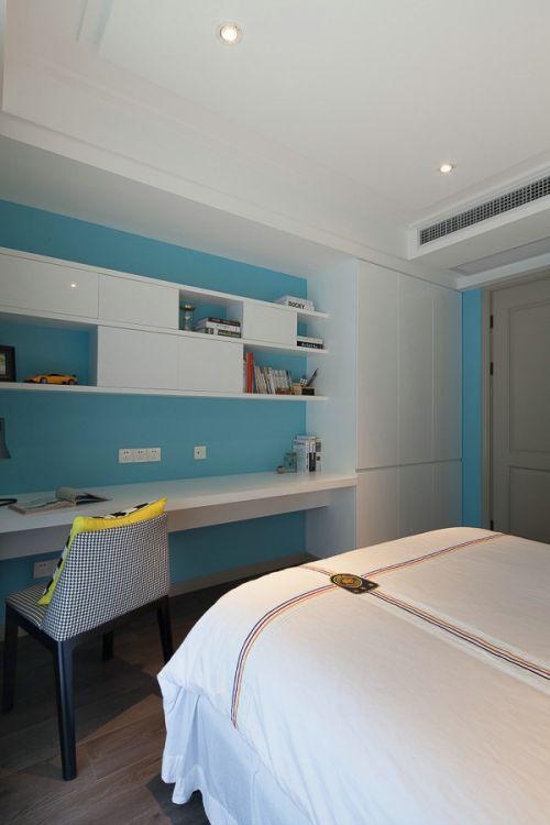 蓝色清新现代风格卧室装修实景图