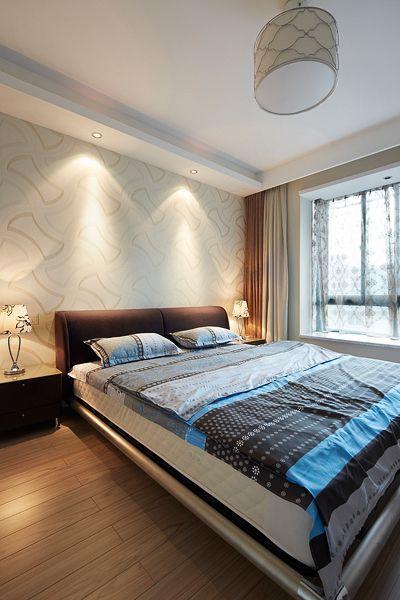 淡雅舒适现代风格卧室床铺装修实景图