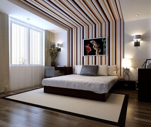 现代简约三居室卧室吊顶装修效果图