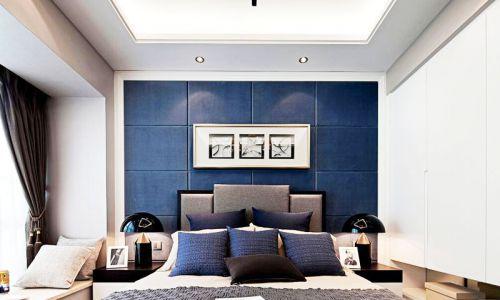 现代简约四居室卧室背景墙装修效果图