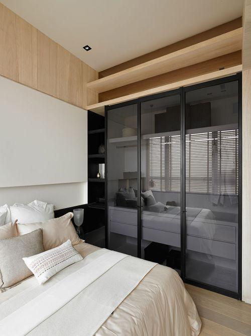 纯色洁白现代风格卧室床铺装修设计