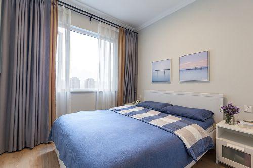 蓝色舒适自然现代风格卧室装修实景图