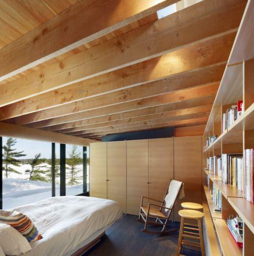温和舒适现代风格卧室原木吊顶效果图
